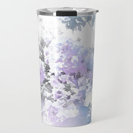 Watercolor Floral Lavender Teal Gray Travel Mug