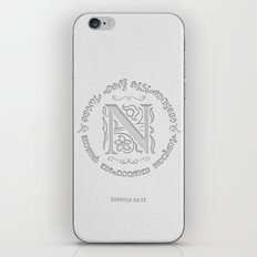 Joshua 24:15 - (Letterpress) Monogram N iPhone & iPod Skin
