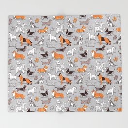 Origami doggie friends // grey linen texture background Throw Blanket