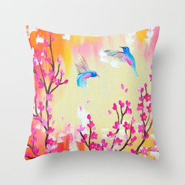 Hummingbirds with pink and yellow Throw Pillow