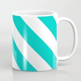 Aqua Diagonal Stripes Pattern Coffee Mug
