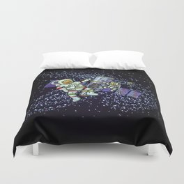 Spaceman and space cat Duvet Cover