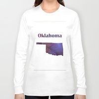 oklahoma Long Sleeve T-shirts featuring Oklahoma Map by Roger Wedegis