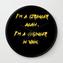 I'm a stranger Yellow on Black Writing Wall Clock