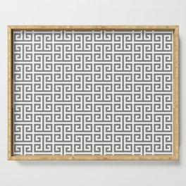 Gray and White Greek Key Pattern Serving Tray