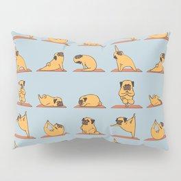 Pug Yoga In Blue Pillow Sham