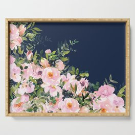 Floral Watercolor, Roses, Navy Blue and Pink, Vintage Art Serving Tray