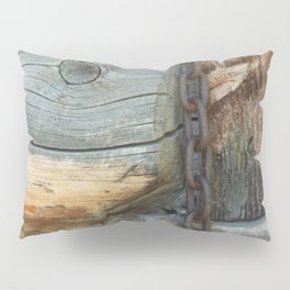 Weathered - Old Barn Wood & Rusted Chain Mormon Row Cabins Closeup Pillow Sham