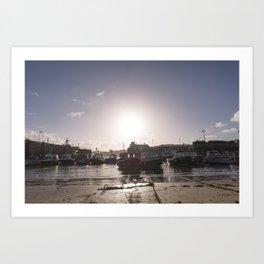 Sunrise over Newquay harbour Art Print