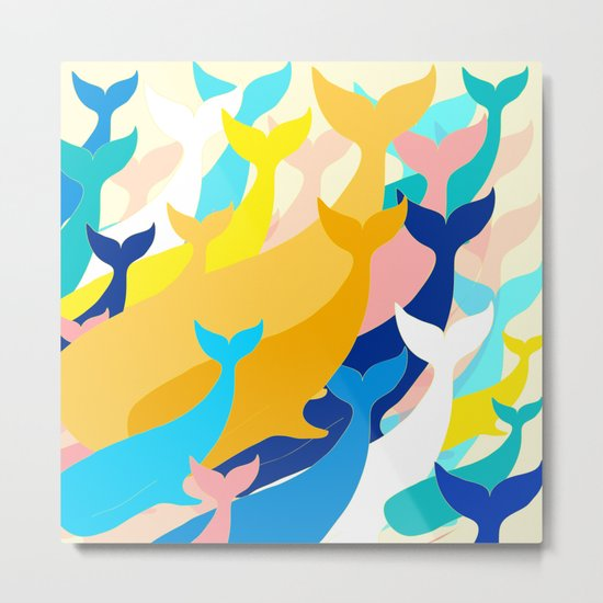 Chill Whales Metal Print