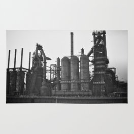 Black and White Bethlehem Steel Blast Furnace 2 Rug