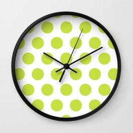 Mid Century Modern Polka Dots 565 Chartreuse Green Wall Clock