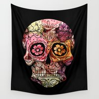 calavera Wall Tapestries featuring Calavera Flowers YR by BigTee