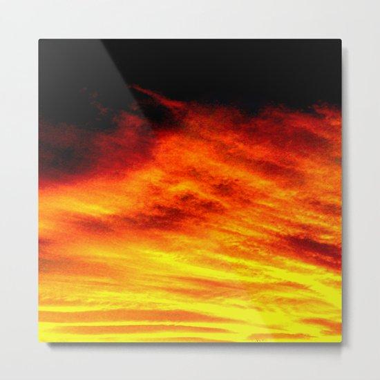 Black Yellow Red Sunset Metal Print