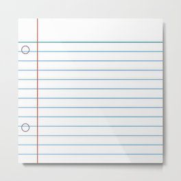 Notebook Paper Metal Print