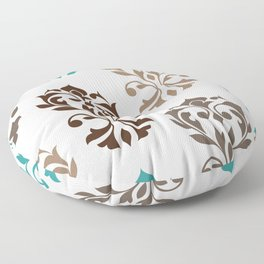 Heart Damask Art I Browns Teal Cream Floor Pillow