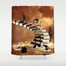 Cute little girl dancing on a piano Shower Curtain
