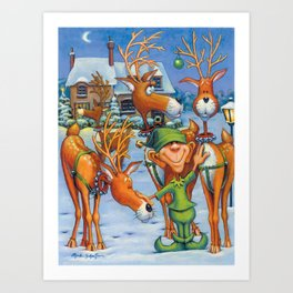 Elf Karl and the Reindeer Art Print