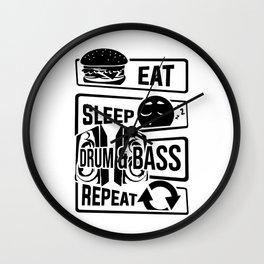 Eat Sleep Drum & Bass Repeat - Party Festival Beat Wall Clock