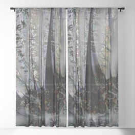 Frost in forest - Abstract illusion Sheer Curtain