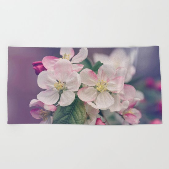 Young Cherry Blossom Flowers Beach Towel