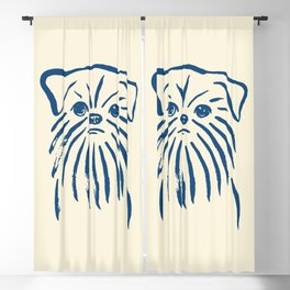 Brussels Griffon (Beige and Blue) Blackout Curtain
