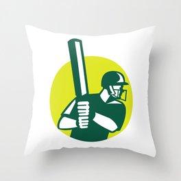 Cricket Batsman Batting Icon Retro Throw Pillow