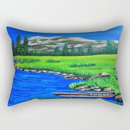 River bank with little old boat Rectangular Pillow