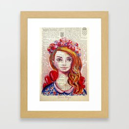 Floral Girl on dictionary page Framed Art Print