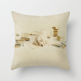 Felinology - Fine art dog photography where a cockerspaniel is tired of stydying and reading books Throw Pillow
