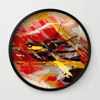cage Wall Clocks featuring fire cage by Matthias Hennig