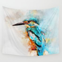 Watercolor kingfisher bird Wall Tapestry