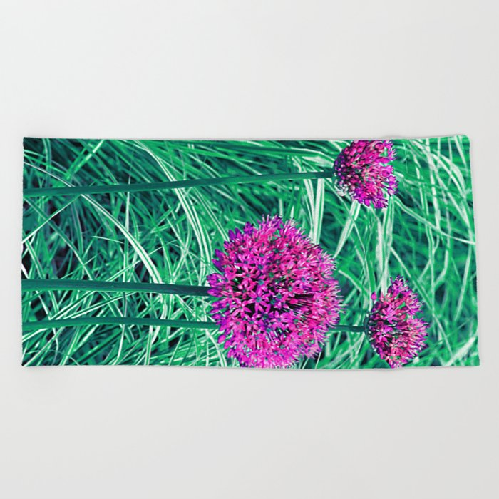 Purple ball flowers Beach Towel