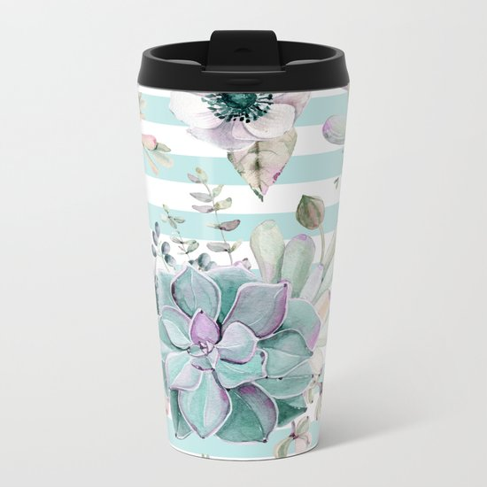 Succulent Garden Striped Succulent Blue Metal Travel Mug