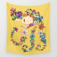 sleeping beauty Wall Tapestries featuring Sleeping Beauty by Shelley Ylst Art