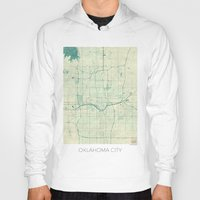 oklahoma Hoodies featuring Oklahoma City Map Blue Vintage by City Art Posters