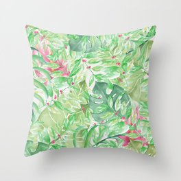 Hand painted watercolor green pink tropical leaves floral Throw Pillow