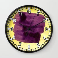 transparent Wall Clocks featuring transparent Yellow by seb mcnulty