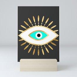evil eye gold foil print Mini Art Print