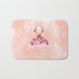 Isabella Bellarina Dancing on Peach Watercolour Bath Mat