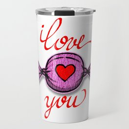 I love you (pink) written in red Travel Mug