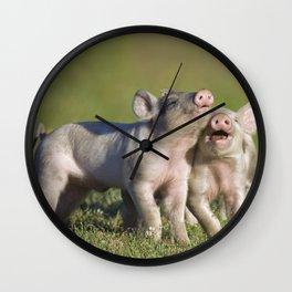 Blissful Piglets Wall Clock