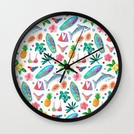 Dotty Summer Beach Pattern Wall Clock