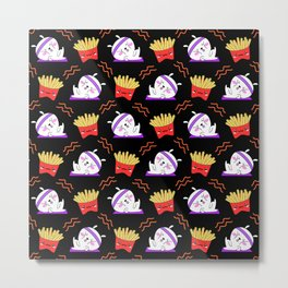 Cute sweet adorable Kawaii fitness bunnies exercising on a yoga mat, yummy happy funny French fries black pattern design Metal Print