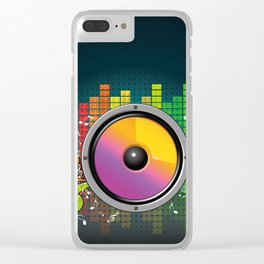 Colorful equalizer and music speakers illustration Clear iPhone Case