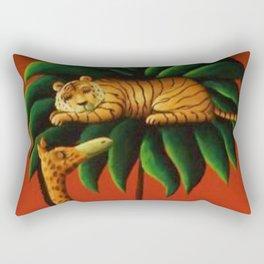 African American Masterpiece 'Restful Summer Night on the Serengeti' by O. Bulman Rectangular Pillow