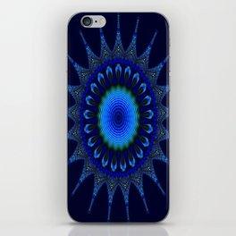Blue kaleidoscope fractal star iPhone Skin