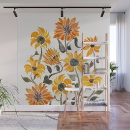 Sunflower Watercolor – Yellow & Black Palette Wall Mural