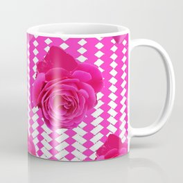 ABSTRACTED CERISE PINK ROSES GARDEN ART Coffee Mug