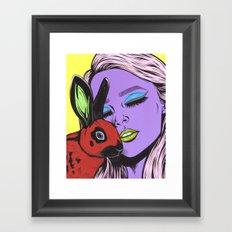 girl with rabbit Framed Art Print